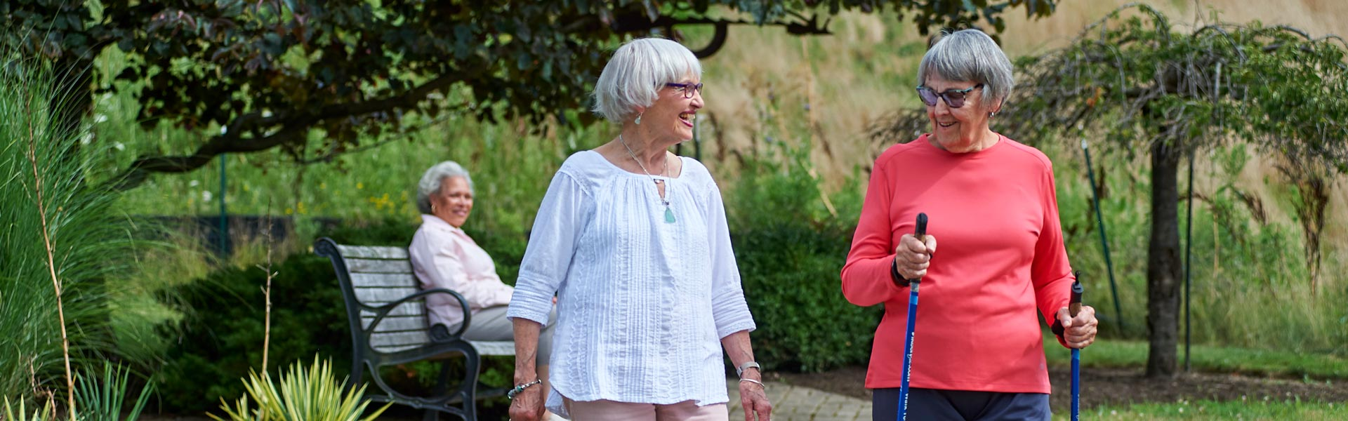 Two senior women on a walk